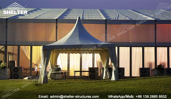 pagoda canopy - flat top high peak tents - square marquees - canopy for hotel wedding - pavilion for pool side party - Shelter aluminum structures for sale (4)